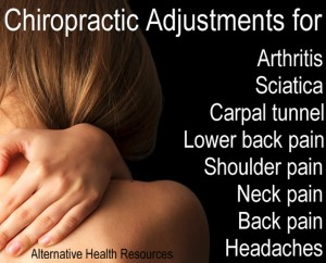 Chiropractic adjustment arthritis sciatica carpal tunnel lower back pain shoulder pain neck pain back pain headaches