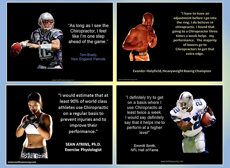 Chiropractic for Sports Aches and Pain Tom Brady Evander Holyfield Sean Atkins Emmitt Smith